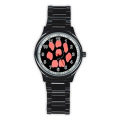 Craft Pink Black Polka Spot Stainless Steel Round Watch by Mariart