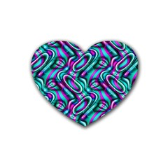 Circle Purple Green Wave Chevron Waves Rubber Coaster (heart)  by Mariart