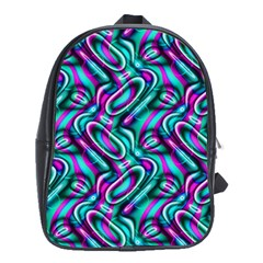 Circle Purple Green Wave Chevron Waves School Bags(large)