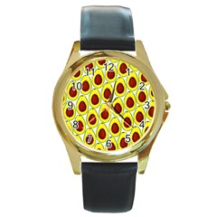 Avocados Seeds Yellow Brown Greeen Round Gold Metal Watch by Mariart