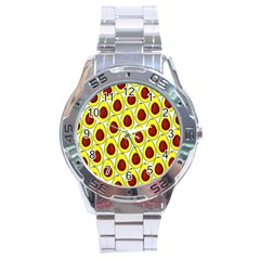 Avocados Seeds Yellow Brown Greeen Stainless Steel Analogue Watch by Mariart