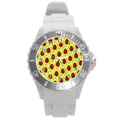Avocados Seeds Yellow Brown Greeen Round Plastic Sport Watch (l) by Mariart