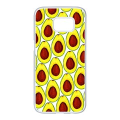 Avocados Seeds Yellow Brown Greeen Samsung Galaxy S7 Edge White Seamless Case by Mariart