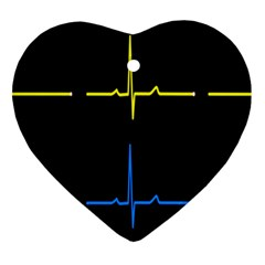 Heart Monitor Screens Pulse Trace Motion Black Blue Yellow Waves Ornament (heart) by Mariart
