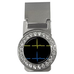 Heart Monitor Screens Pulse Trace Motion Black Blue Yellow Waves Money Clips (cz)  by Mariart