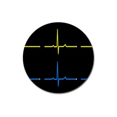 Heart Monitor Screens Pulse Trace Motion Black Blue Yellow Waves Magnet 3  (round) by Mariart