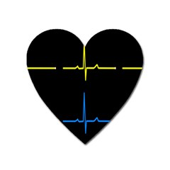 Heart Monitor Screens Pulse Trace Motion Black Blue Yellow Waves Heart Magnet by Mariart