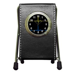 Heart Monitor Screens Pulse Trace Motion Black Blue Yellow Waves Pen Holder Desk Clocks by Mariart