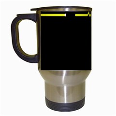 Heart Monitor Screens Pulse Trace Motion Black Blue Yellow Waves Travel Mugs (white) by Mariart
