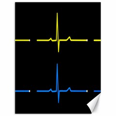 Heart Monitor Screens Pulse Trace Motion Black Blue Yellow Waves Canvas 18  X 24   by Mariart