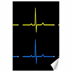 Heart Monitor Screens Pulse Trace Motion Black Blue Yellow Waves Canvas 24  X 36  by Mariart