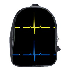 Heart Monitor Screens Pulse Trace Motion Black Blue Yellow Waves School Bags(large)