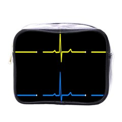 Heart Monitor Screens Pulse Trace Motion Black Blue Yellow Waves Mini Toiletries Bags by Mariart