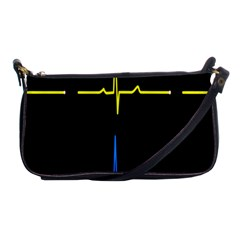 Heart Monitor Screens Pulse Trace Motion Black Blue Yellow Waves Shoulder Clutch Bags by Mariart