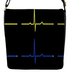 Heart Monitor Screens Pulse Trace Motion Black Blue Yellow Waves Flap Messenger Bag (s) by Mariart