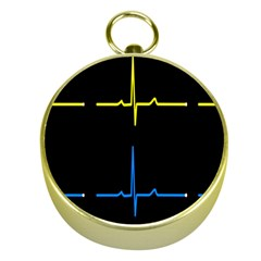 Heart Monitor Screens Pulse Trace Motion Black Blue Yellow Waves Gold Compasses by Mariart