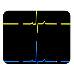 Heart Monitor Screens Pulse Trace Motion Black Blue Yellow Waves Double Sided Flano Blanket (large)  by Mariart