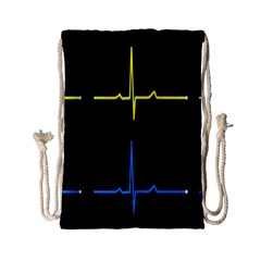 Heart Monitor Screens Pulse Trace Motion Black Blue Yellow Waves Drawstring Bag (small) by Mariart