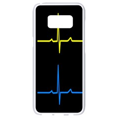 Heart Monitor Screens Pulse Trace Motion Black Blue Yellow Waves Samsung Galaxy S8 White Seamless Case by Mariart