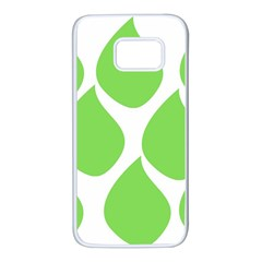 Green Water Rain Samsung Galaxy S7 White Seamless Case by Mariart