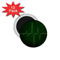 Heart Rate Green Line Light Healty 1 75  Magnets (10 Pack)  by Mariart