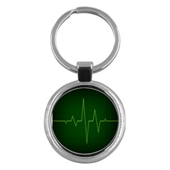 Heart Rate Green Line Light Healty Key Chains (round)  by Mariart