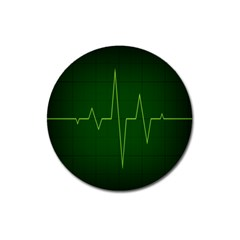 Heart Rate Green Line Light Healty Magnet 3  (round) by Mariart