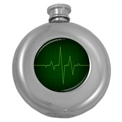Heart Rate Green Line Light Healty Round Hip Flask (5 Oz) by Mariart