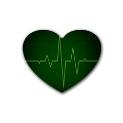 Heart Rate Green Line Light Healty Heart Coaster (4 Pack)  by Mariart