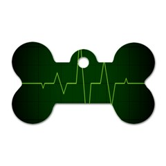 Heart Rate Green Line Light Healty Dog Tag Bone (one Side) by Mariart