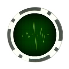 Heart Rate Green Line Light Healty Poker Chip Card Guard
