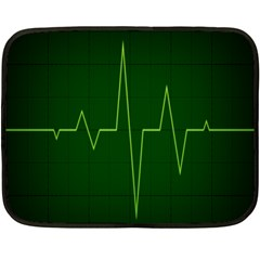 Heart Rate Green Line Light Healty Double Sided Fleece Blanket (mini)  by Mariart