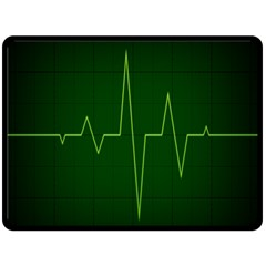 Heart Rate Green Line Light Healty Fleece Blanket (large)  by Mariart