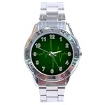 Heart Rate Green Line Light Healty Stainless Steel Analogue Watch Front
