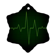 Heart Rate Green Line Light Healty Snowflake Ornament (two Sides) by Mariart