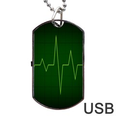 Heart Rate Green Line Light Healty Dog Tag Usb Flash (two Sides) by Mariart