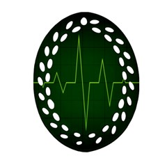 Heart Rate Green Line Light Healty Oval Filigree Ornament (two Sides) by Mariart