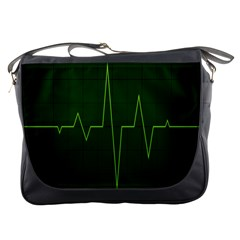 Heart Rate Green Line Light Healty Messenger Bags by Mariart