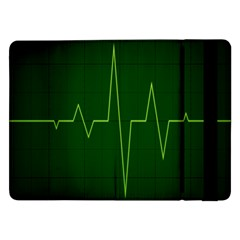 Heart Rate Green Line Light Healty Samsung Galaxy Tab Pro 12 2  Flip Case by Mariart