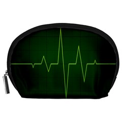 Heart Rate Green Line Light Healty Accessory Pouches (large)  by Mariart