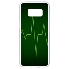 Heart Rate Green Line Light Healty Samsung Galaxy S8 White Seamless Case by Mariart