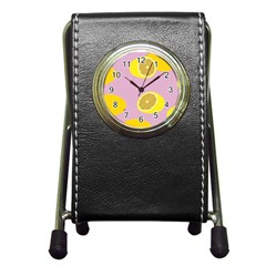 Fruit Lemons Orange Purple Pen Holder Desk Clocks