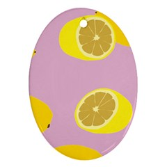 Fruit Lemons Orange Purple Oval Ornament (two Sides) by Mariart