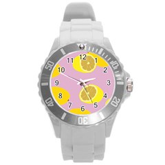 Fruit Lemons Orange Purple Round Plastic Sport Watch (l) by Mariart