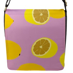 Fruit Lemons Orange Purple Flap Messenger Bag (s) by Mariart