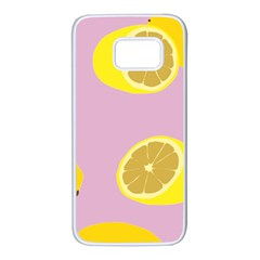 Fruit Lemons Orange Purple Samsung Galaxy S7 White Seamless Case by Mariart