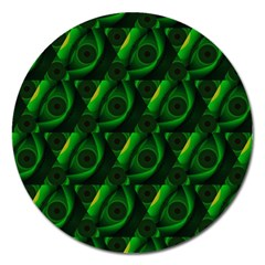 Green Eye Line Triangle Poljka Magnet 5  (round) by Mariart