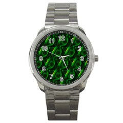 Green Eye Line Triangle Poljka Sport Metal Watch by Mariart