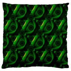 Green Eye Line Triangle Poljka Large Cushion Case (two Sides) by Mariart