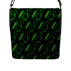 Green Eye Line Triangle Poljka Flap Messenger Bag (l)  by Mariart